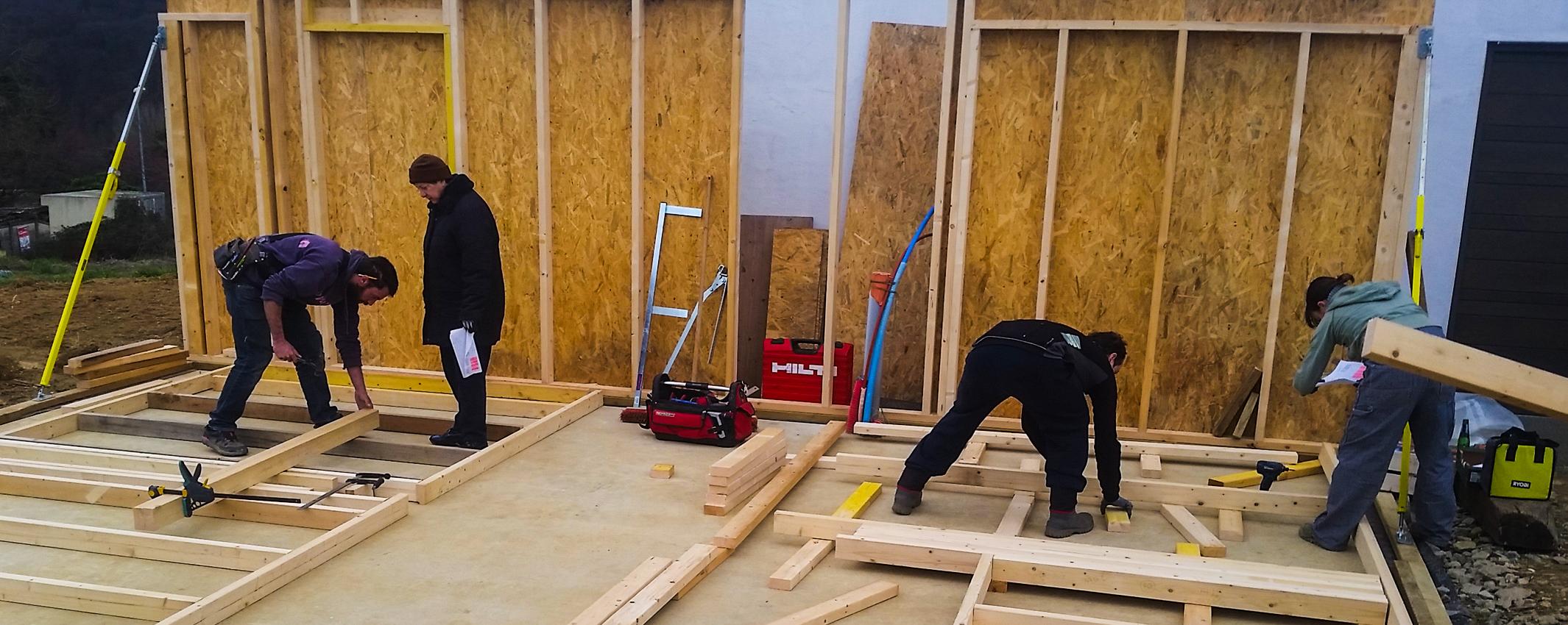 Chantier particicpatif garage ossature bois